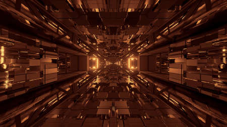 A futuristic sci-fi space tunnel passageway with glowing shiny lights