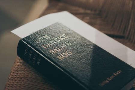 A closeup of a Danish Gospel book under natural light Archivio Fotografico