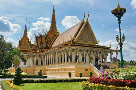 PHNOM PENH, CAMBODIA - Nov 10, 2017: A beautiful shot of a palace in Phnom Penh, Cambodia