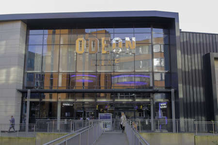 STAFFORD, UNITED KINGDOM - Dec 28, 2019: View of an Odeon cinema in the town centre. Outside view of Odeon, British chain of cinemas, one of the largest in Europe. Odeon Luxe.