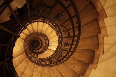 An overhead shot of a round staircase