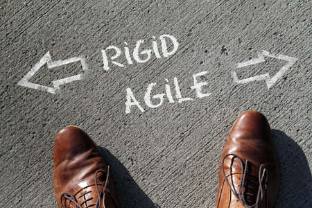 A high angle shot of rigid and agile marked with opposite directions on the ground