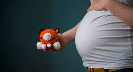 A beautiful shot of a pregnant woman ina white shirt holding a cute animal toy Reklamní fotografie