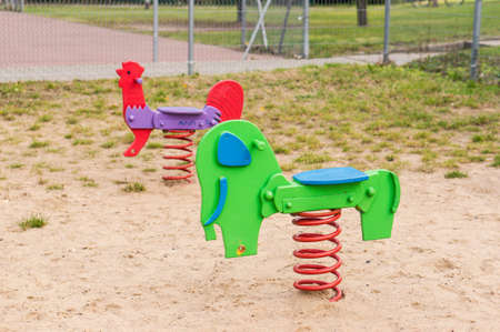 A horse toys at the park for children 免版税图像