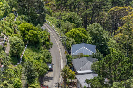 A high angle shot of buildings near the road surrounded by trees in New Zealand 写真素材