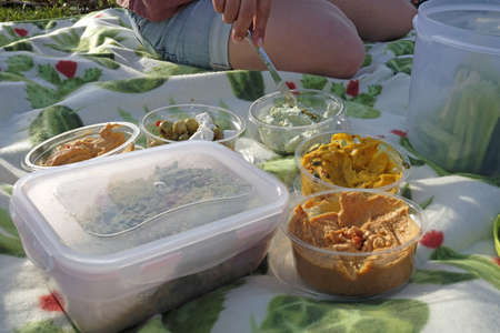 A wide angle shot of several types of food next to each other during a picnic 写真素材