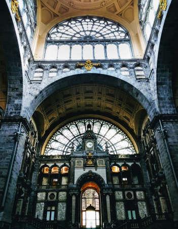 The Antwerp Central station under the lights in Antwerp in Belgium