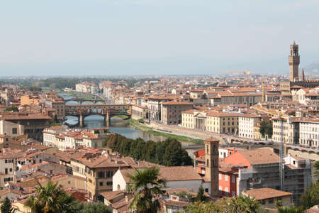 A wide shot of florence italy with a clear blue sky
