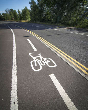 A vertical high angle shot of the bicycle lanes on the highway - eco transport concept