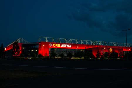 "MAINZ, GERMANY - Aug 11, 2018: Opel Arena, Stadium of Bundesliga Club ""1. FSV Mainz 05"", illuminated during night. German first league soccer club."