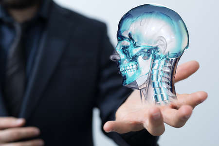 A virtual projection of a human skull - medical network connection concept