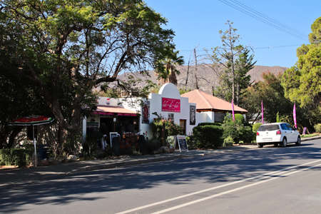 PRINCE ALBERT, SOUTH AFRICA - Jun 05, 2019: Lah-di-dah restaurant on the main road. This is a popular tourist attraction in Prince Albert South Africa.