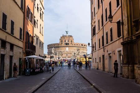 ROME, ITALY - Aug 01, 2019: A unique view of the Castel Sant'Angelo in Rome, Italy. This is a top tourist attraction.
