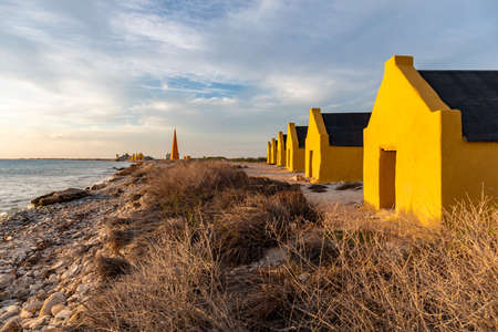 A block of historic red slave huts in Bonaire, Caribbean