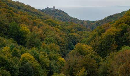 The autumn in the mountain Medvednica with the castle Medvedgrad in Zagreb, Croatia Editoriali