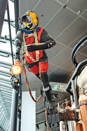 STAVANGER, NORWAY - Jul 11, 2019: A deep sea diver mannequin on display at the Stavanger Petroleum Museum.