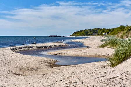 The Oleaen Stream - the longest waterway on Bornholm island flowing into the Baltic sea near Slusegaard, Denmark