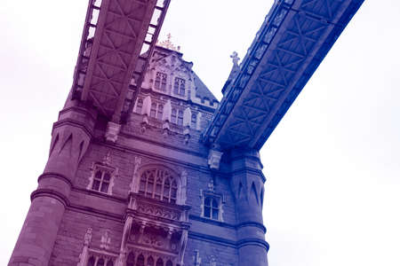 Brexit concept image consisting of Tower Bridge in London. Image has colour filter on it.