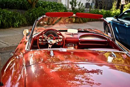 DOWNERS GROVE, UNITED STATES - Jun 07, 2019: A high angle shot of a vintage car interior Banco de Imagens