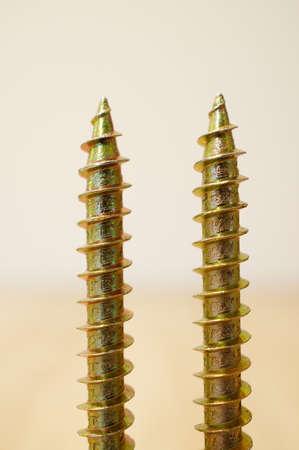 A detailed closeup soft focus shot of screw threads