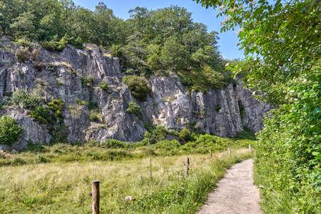 A beautiful scenery of Ekkodalen (Echo Valley) - Denmark's longest rift, vicinity of Aakirkeby, Bornholm island, Denmark 版權商用圖片