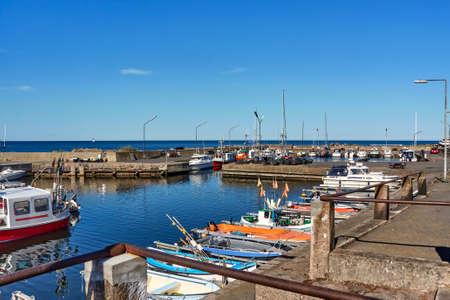 Aarsdale, Bornholm island, Denmark - June 28, 2019. Fishing boats moored in small port of Aarsdale. 版權商用圖片