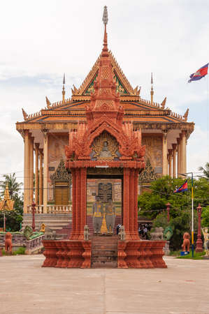 A vertical shot of an ancient historic landmark in Phnom Penh in Cambodia