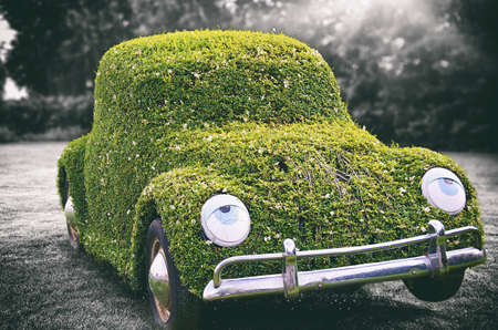 An antique car covered in greenery under the sunlight with a blurry greyscale background