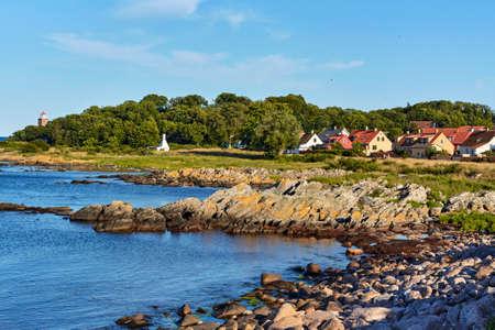 The rocky coast of the Baltic Sea in Svaneke, Bornholm island, Denmark Standard-Bild