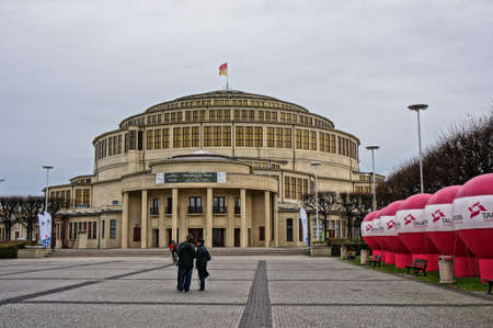 Wroclaw, Poland - November 10, 2013: The Centennial Hall under a clouded sky