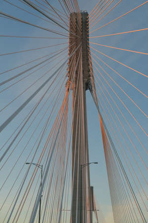 A vertical shot of a cable-stayed bridge with the blue sky in the background