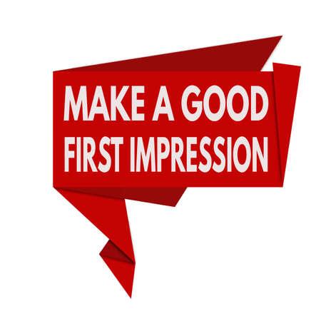 Make a good first impression origami speech bubble on white background, vector illustration Zdjęcie Seryjne