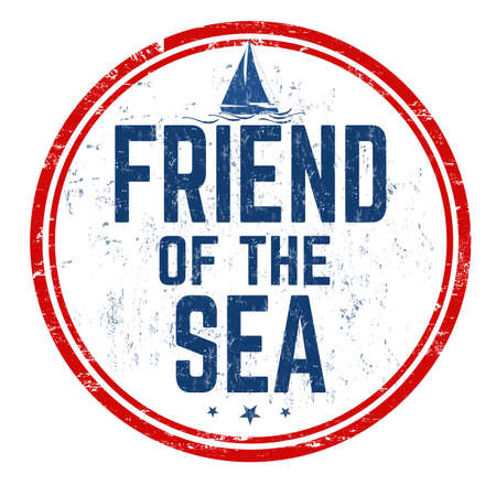 A sign of the Friend of the Sea written in blue in a red circle on a white background