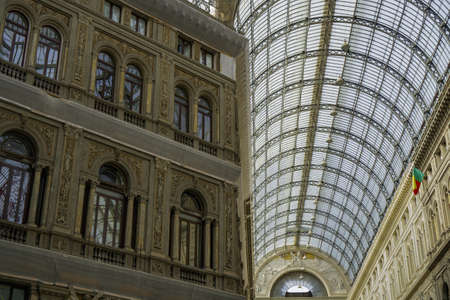 A low angle view of the Galleria Umberto I under the sunlight in Naples in Italy Banco de Imagens