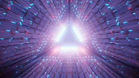 An illustration of a triangular corridor made out of purple and blue lines