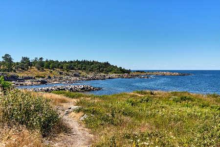 A beautiful scenery at Baltic Sea coast in Svaneke, Bornholm island, Denmark