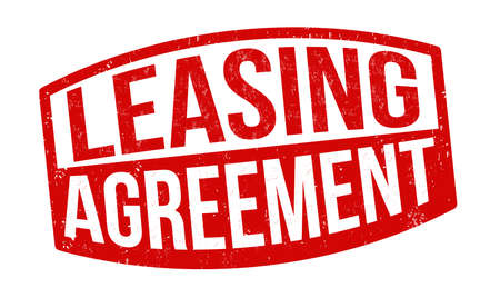 A red Leasing Agreement sign on a white background