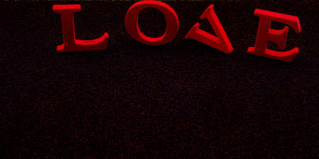 "A photo of red letter blocks spelling out ""love"" isolated on black background"