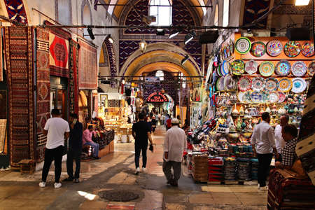 ISTANBUL, TURKEY - Aug 23, 2019: The Grand Bazaar Market in Istanbul, Turkey. This is a popular tourist attraction in the city.