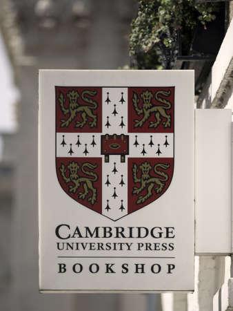 CAMBRIDGE, UNITED KINGDOM - Aug 11, 2017: CAMBRIDGE, UK:  Sign above Cambridge University Press Bookshop
