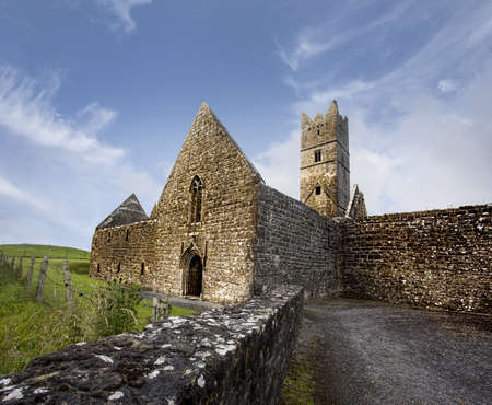 A low angle shot of a rosserk friary lecarrow in ireland