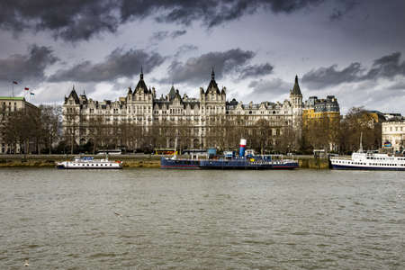 LONDON, UNITED KINGDOM - Mar 02, 2014: Whitehall Court seen from the South Bank of the River Thames, London