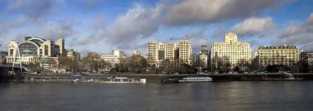 LONDON, UNITED KINGDOM - Mar 02, 2014: Panoramic view of the the Embankment including Embankment Station and Cleopatra's Needle 新闻类图片