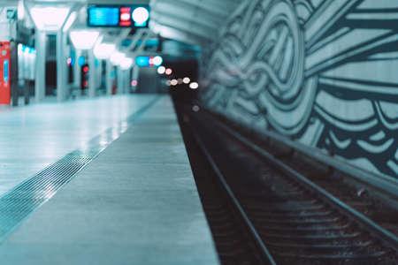 MUNICH, GERMANY - Feb 01, 2020: Night view of Munich subway station