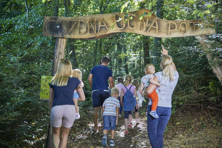 CELJE, SLOVENIA - Sep 10, 2019: Young children discover and explore beauty of nature in a green resort forest.
