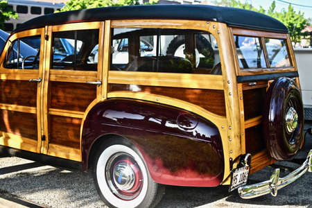 DOWNERS GROVE, UNITED STATES - Jun 07, 2019: A beautiful shot of a woody station wagon