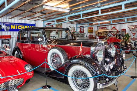 AAKIRKEBY, DENMARK - Jun 27, 2019: Aakirkeby, Bornholm island, Denmark - 27 June 2019. Vintage cars exhibited in Bornholm Automobile Museum 에디토리얼