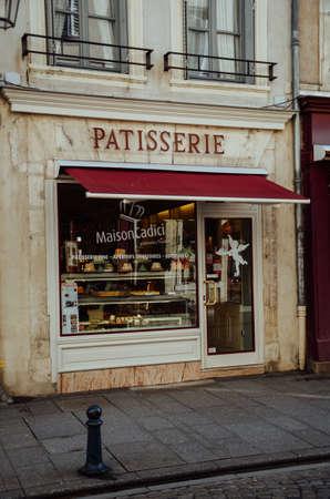 NANCY, FRANCE - Jan 19, 2020: Beautiful patisserie entrance building in Nancy.