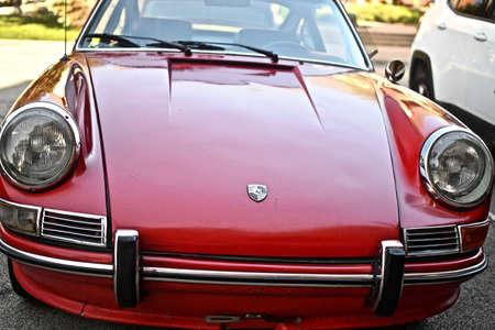 DOWNERS GROVE, UNITED STATES - Jun 07, 2019: A closeup shot of a red porsche 912 car