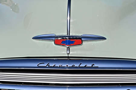 DOWNERS GROVE, UNITED STATES - Jun 07, 2019: A closeup shot of a car with a logo of a chevrolet car